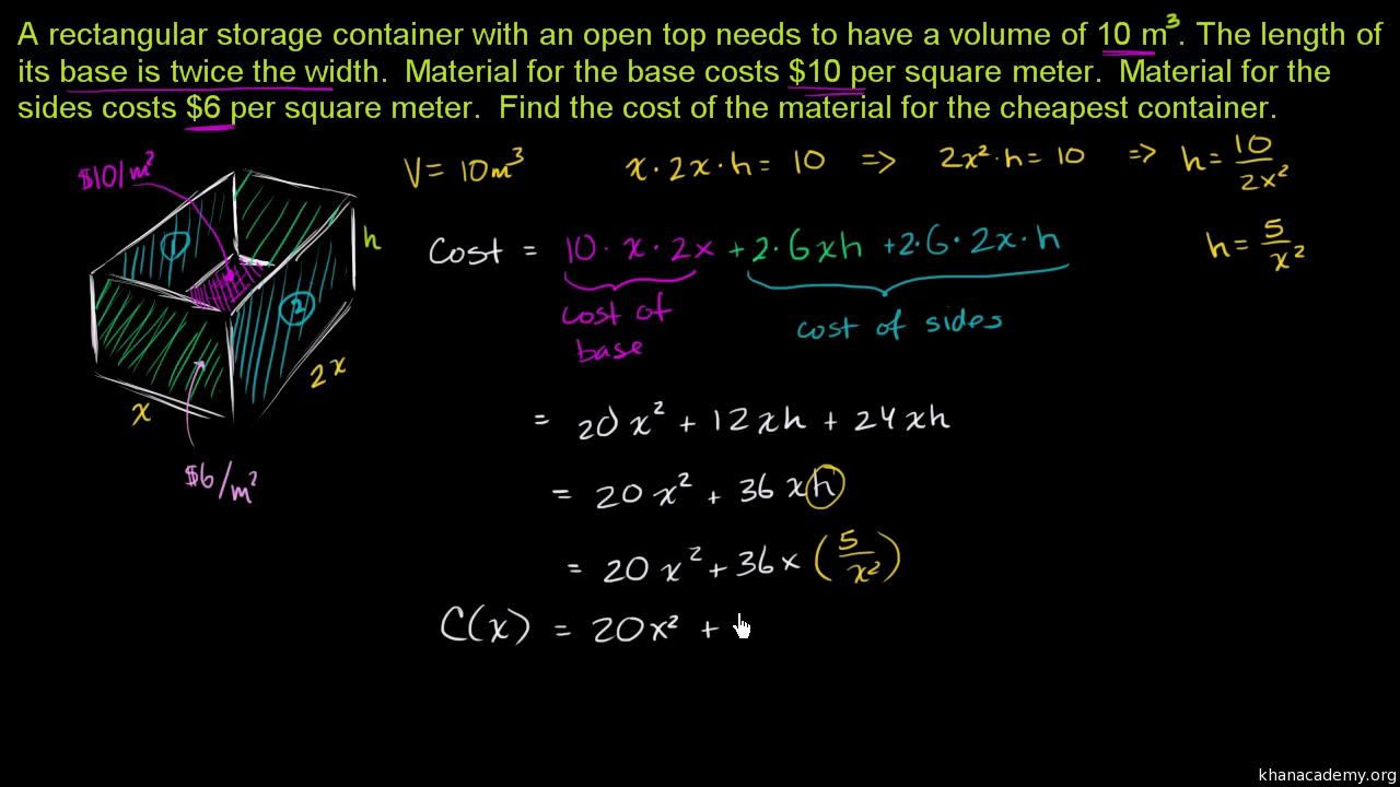 Optimization: cost of materials (video)   Khan Academy