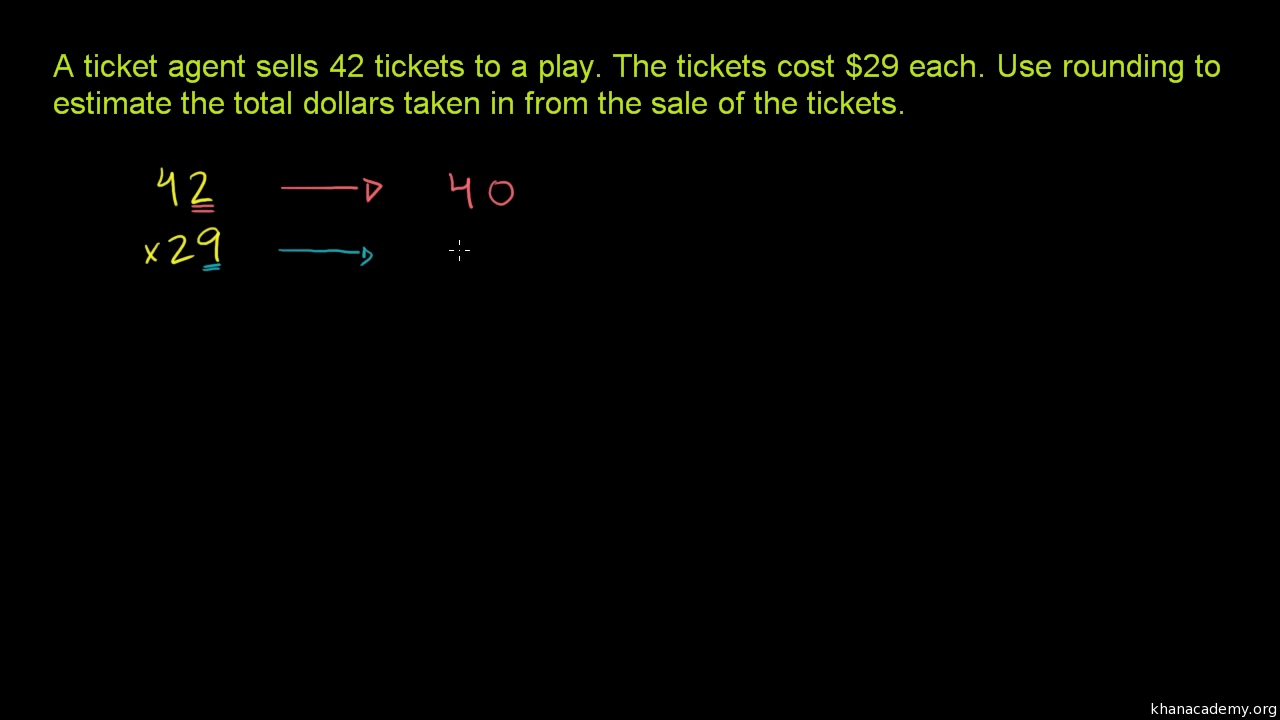 Multiplication estimation example (video)   Khan Academy